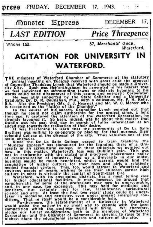 'Agitation for University in Waterford' as published in the Munster Express, December 1943