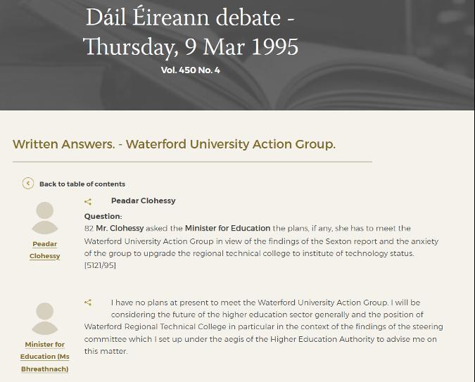 Dáil Éireann debate on Waterford University Action Group, March 1995
