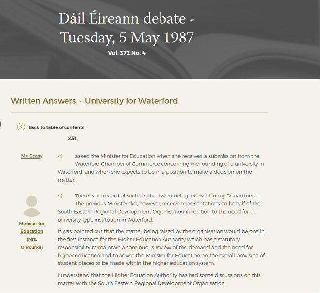 Dáil Éireann debate on a University for Waterford, May 1987