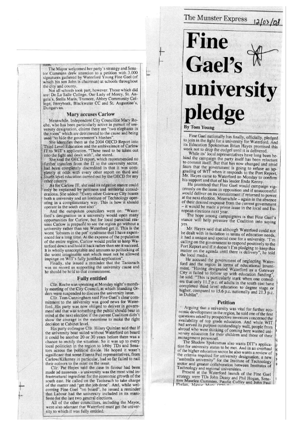 Fine Gael's pledge for a university in Waterford as seen in the Munster Express