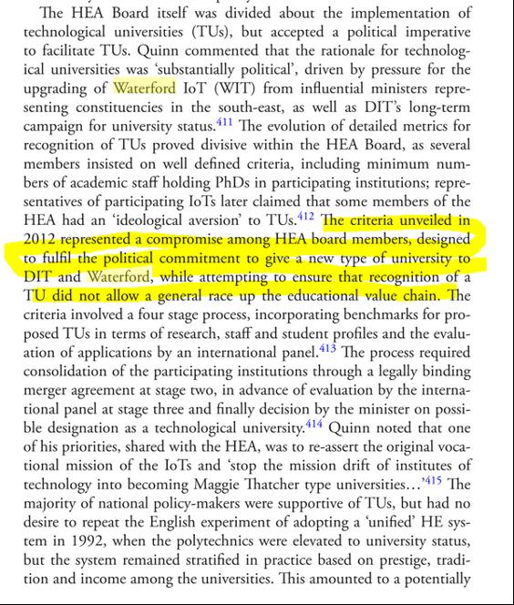 Excerpt from Higher Education in Ireland, 1922–2016 John Walsh