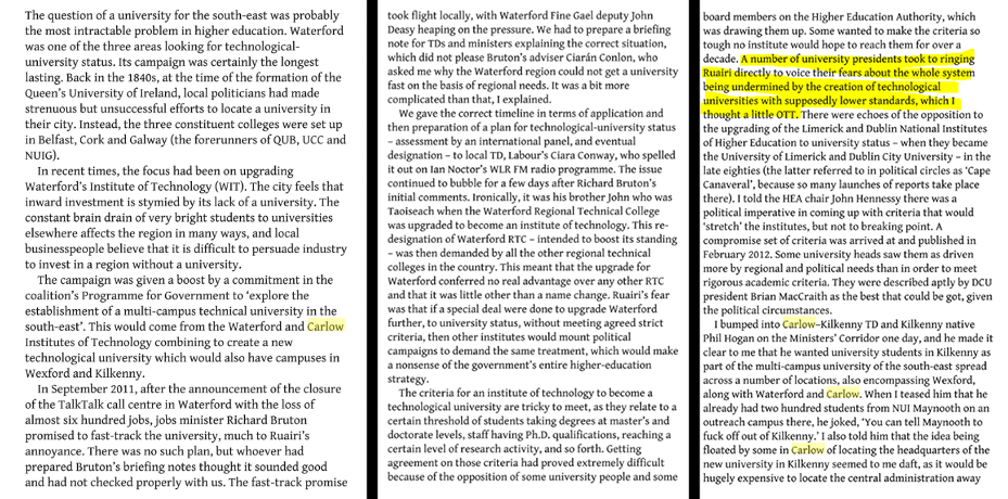 Excerpt from An Education John Walshe (special advisor to Minister for Education Ruairi Quinn)