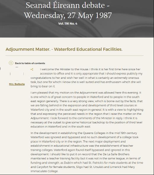 Seanad Éireann debate on a Waterford's educational facilities, May 1987